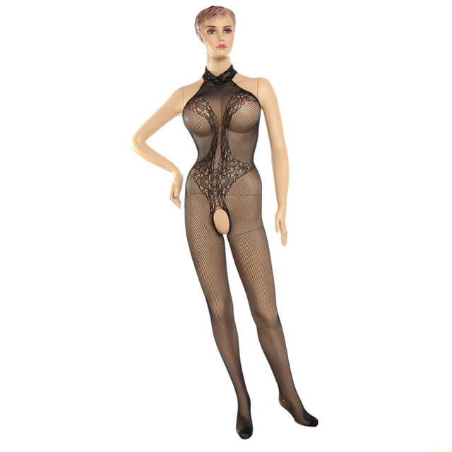 erotic bodysuit fishnet mesh open bra crotch