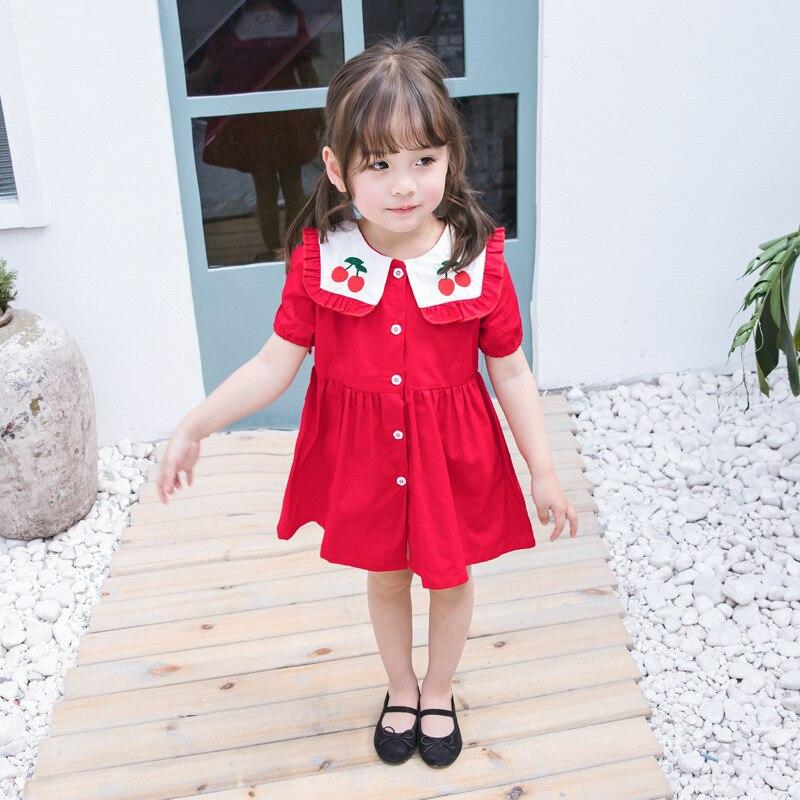 2019 Crianças Roupas Meninas Coreanas Vestido Navy Vento Lapela Vestido Cereja