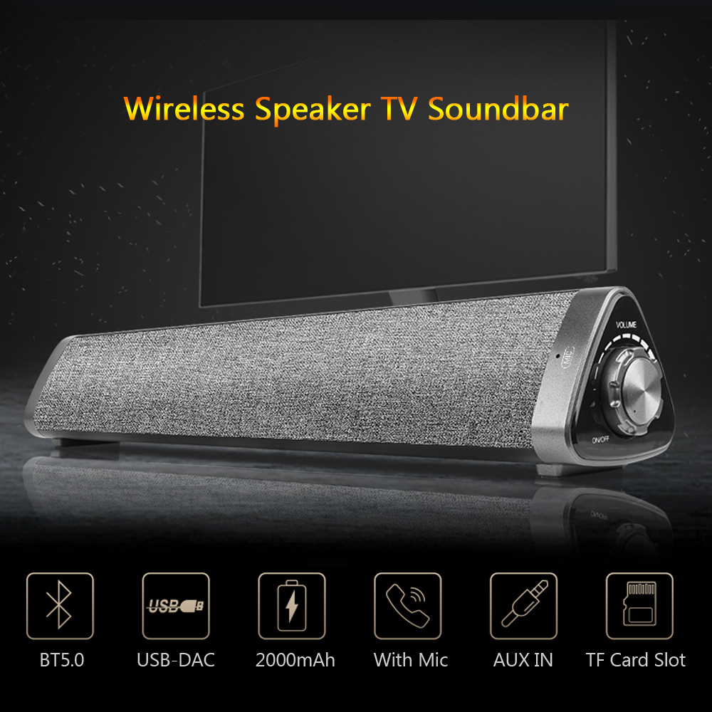 LP-1811 Bluetooth 5.0 haut-parleurs et barre de son 2kmAh 6h de jeu double 5W haute qualité Music10m sans fil et 3.5mm Interface filaire PC/TV