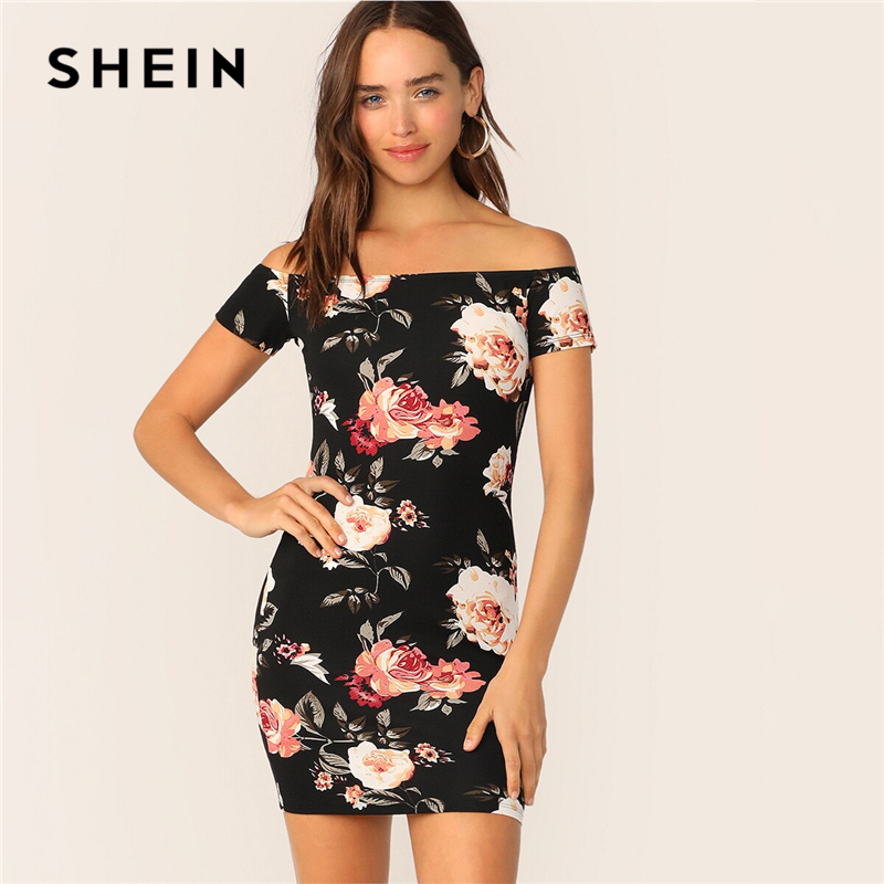 SHEIN Flower Print Bardot Pencil Dress Black Off The Shoulder Slim Women Summer Dress 2019 Sexy Cap Sleeve Bodycon Dresses