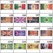15x30cm Bandera de Reino Unido, Estados Unidos, Francia, Brasil, México, lata de Metal, café, Pub, Club, arte, cartel, placa Vintage, pared, café, decoración de pared, pintura