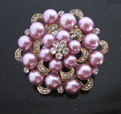 Серебряный тон искусственный жемчуг и горный хрусталь с бриллиантами, кристалами для свадьбы брошь с букетом - Окраска металла: Gold Lilac