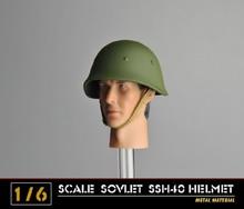 1/6 scale WWII Soviet army soldiermetal helmet cap hat SSH40 action figure accessories стоимость