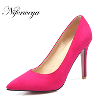 Sexy Pointed Toe Red Women Wedding Shoes Spring Autumn Thin Heel Pumps Big Size 31 47