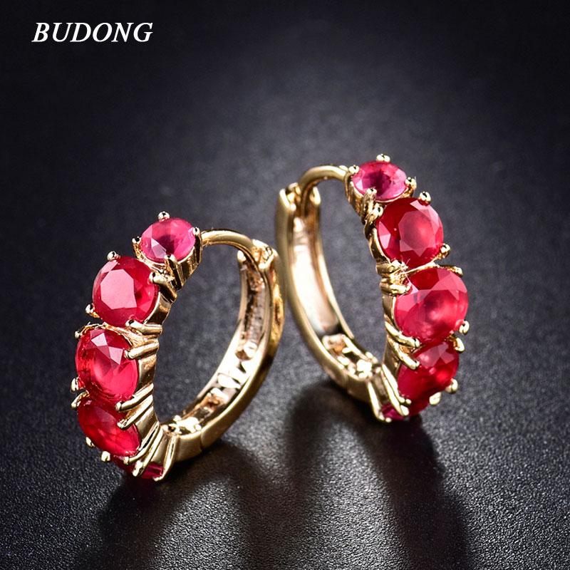 BUDONG Grote Promotie Mode infinity Goud-kleur Oorringen voor Vrouwen Ronde Crystal Zirconia Bruiloft Sieraden XUE120