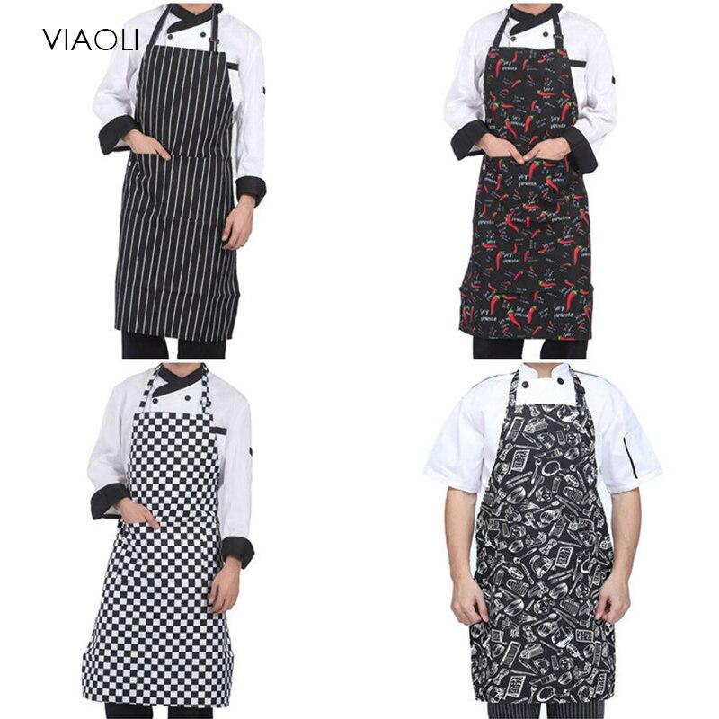 New Adjustable Chef Apron Female Male Cooking Apron Kitchen Apron Restaurant Baking Cooking Dress Multi-Color Wholesale