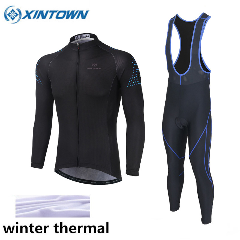 XINTOWN Cycling Clothing Winter Thermal Cycling Jersey Long Sleeve Fleece Maillot Ropa Ciclismo Winter Cycling Jersey Sets Black cycling jersey womenpurple flowershort sleeve cycling clothing women cycling jersey cycling sets x608