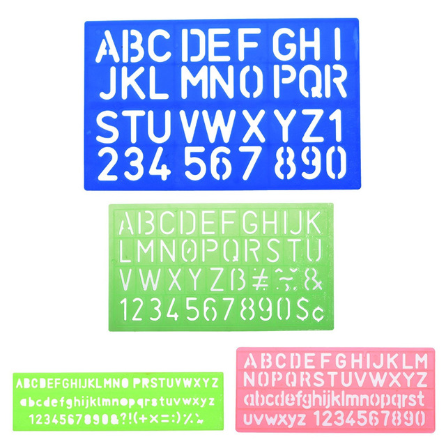 4pcs Assorted Colors Plastic Letter And Alphabet Stencil Sets Drawing Drafting Template