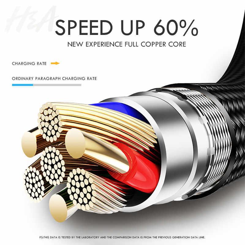 H & A Тип C usb-кабель 3A быстрой зарядки Тип-C зарядный usb-шнур для samsung S9 S8 плюс huawei Honor 10 9 lite планшетный телефон Тип C