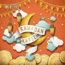 Laeacco Ramadan Kareem Eid Mubarak Mosque Lantern Scene Portrait Photographic Background Vinyl Photography Photo Studio Backdrop