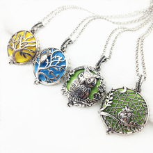 4pcs Antique Silver Mixed Owl Life Tree Design Copper Magnet Locket Essential Oil Aroma Diffuser Trendy Pendant Necklace Jewelry