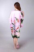 Women modern kimono Tang Suit women's sleep silk with fancy print  design pajamas luxurious Loungewear for 3 different colors