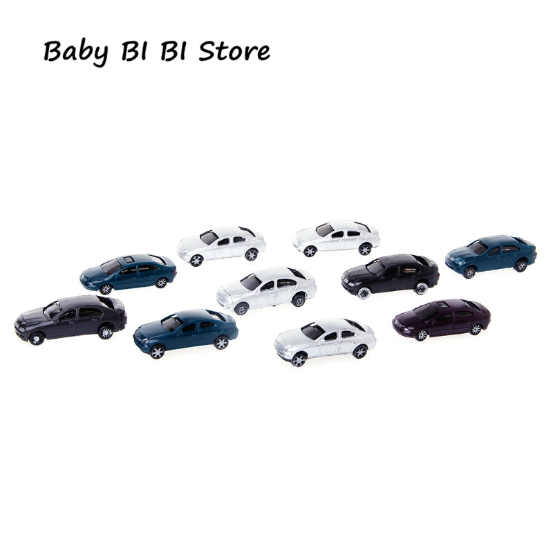 New 10x 1:100 Painted Model Cars Building Layout HO Scale Model Building Toy