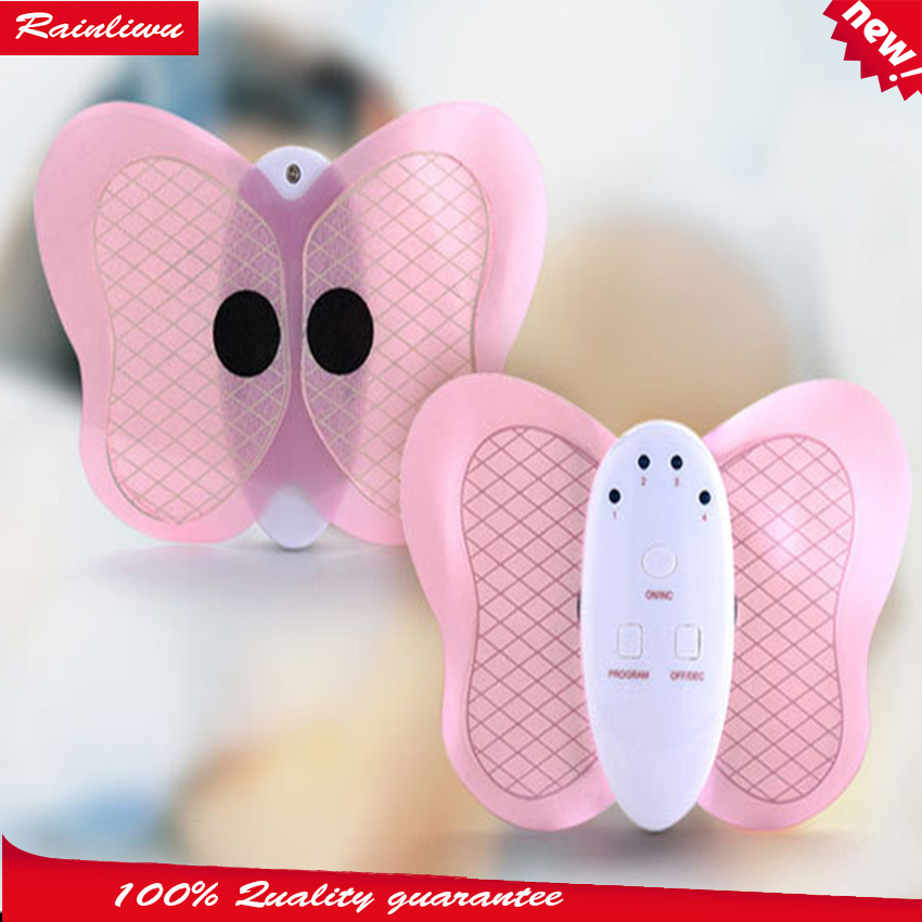 Beauty care massager Low frequency therapy device body mini massage butterfly massage device 2017 hot sale mini electric massager digital pulse therapy muscle full body massager silver