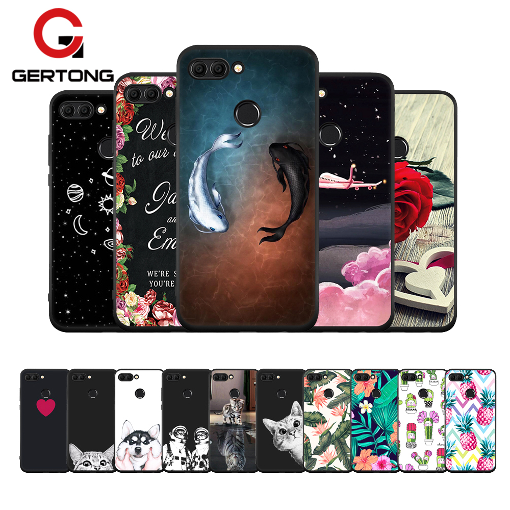 Black Soft TPU Flower Pattern Case For Huawei Mate 10 Lite P20 Pro P10 Plus P8 P9 Lite 2017 Y9 2018 For Honor 8 9 Lite Cover image