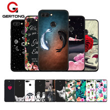 Black Soft TPU Flower Pattern Case For Huawei Mate 10 Lite P20 Pro P10 Plus P8 P9 Lite 2017 Y9 2018 For Honor 8 9 Lite Cover(China)