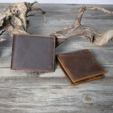 Foreign trade wholesale crazy horse leather wallet, mens short Money Wallet horizontal money retro cowhide silver  8029