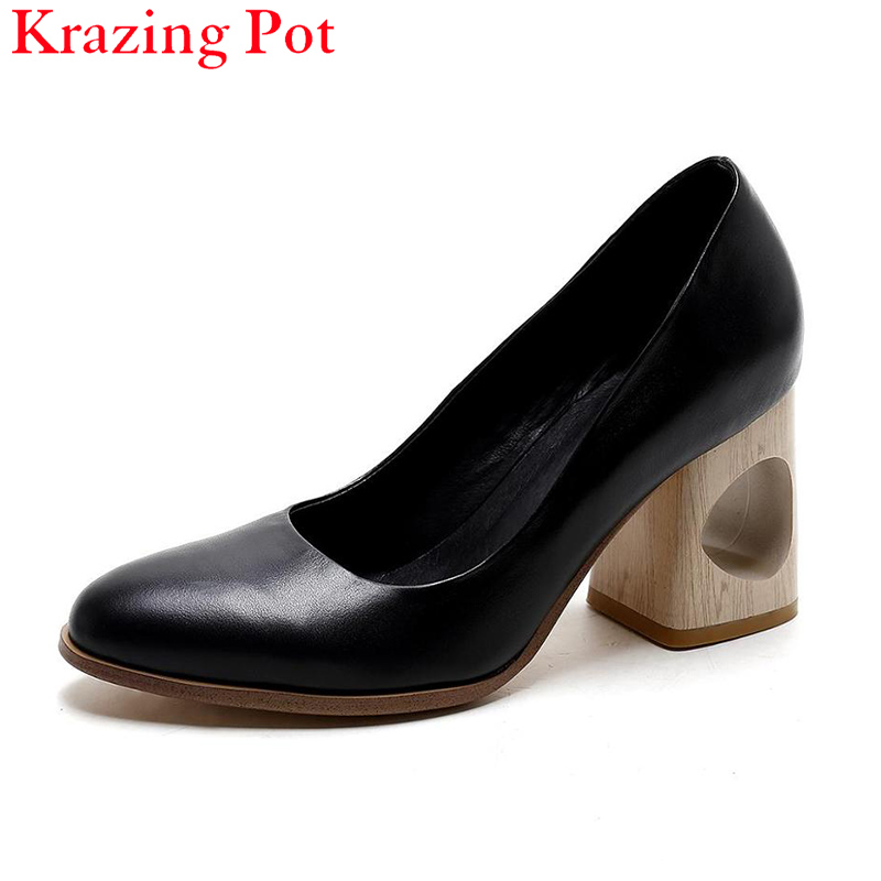 2017 Fashion Thick High Heels Superstar Genuine Leather Pointed Toe Women Pumps Shallow Women Causal Party Office Lady Shoes L12
