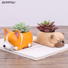 1Pcs/set Creative cartoon dogs flower vase resin succulent cute sleeping animal for back school students planter pot gift(China)