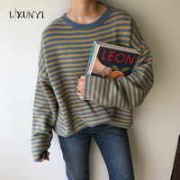 2018 Autumn Winter Korean Loose Stripe Long-sleeved Knitted Sweaters Women's Clothing Wholesale O-neck Plus Size Tops