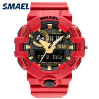 Men Watches Red Style New Sport Watch Smael Brand Quartz 50Meters Waterproof Relogio Masculino Erkek Saat
