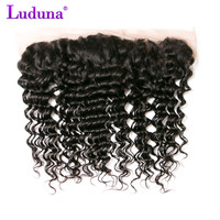 Luduna Brazilian Deep Weave Hair Lace Frontal Closure 13x4 With Baby Hair 100 Remy Human Hair