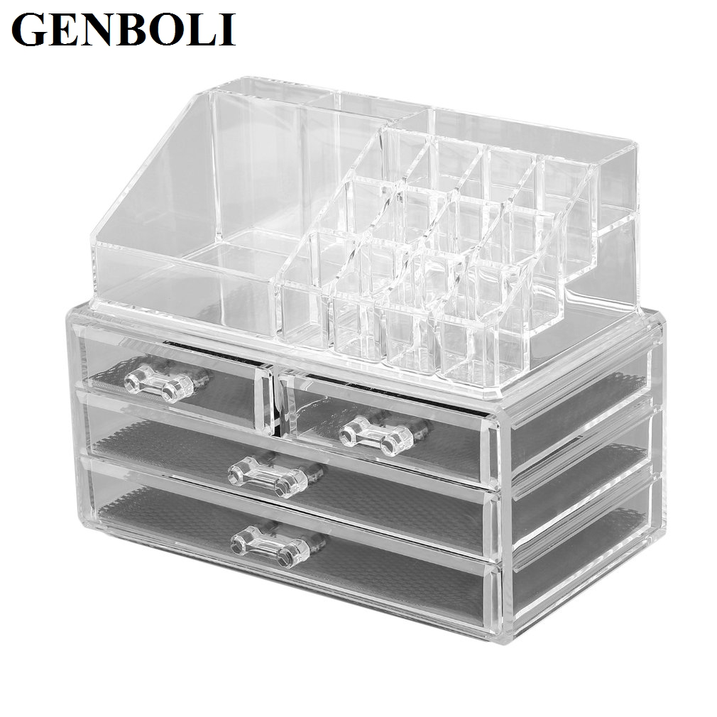 GENBOLI 4 Drawer Rings Carrying Storage Jewelry Box Clear Acrylic Cosmetic Makeup Organizer Tool Holder Stand Case black professional makeup cosmetic storage train case box trays aluminum organizer artist hiker draws