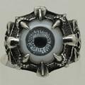 men/boy vintage dragon skull claw hold evil black eye 316L stainless steel ring