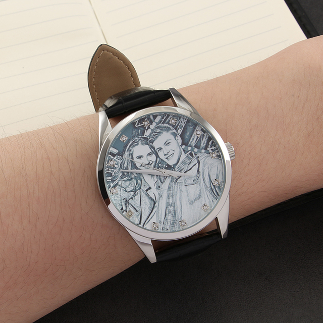 YAZI Unique Custom Photo Watch Zircon Scale Stainless Steel Watch Genuine Leather Customized Quartz Watches for Men And Women