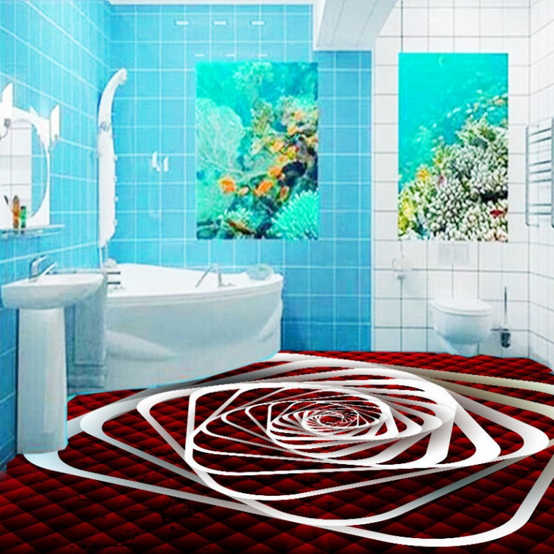 ФОТО Free Shipping 3D dynamic spiral floor painting self-adhesive anti-skidding lobby living room wallpaper thickened bedroom mural
