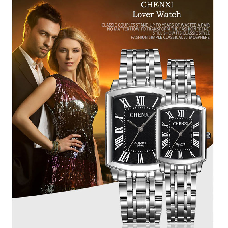 Top Luxury Brand Chenxi Watch Fashion Casual Couple Watches Rectangle Dial Quartz Watches Men Women Stainless Steel Watches
