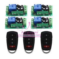 Best Price 1 Channel DC 12V RF Wireless Remote Control Switch 4 Receiver +3 Transmitter Hot Sale