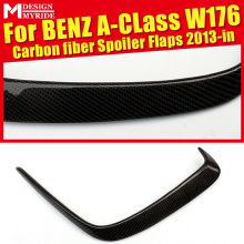 Fits For W176 Rear Bumper Vent Rafts Splitters 2 Pcs Carbon Gloss Black A180 A200 A45 Lip Splitter Air Flow 13-18