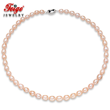 Genuine Freshwater Pearl Necklace 7-8mm Rice Shape Pink Freshwater Pearl Choker Necklaces For Women's Fine Pearl Jewelry 50cm freshwater natural pearl necklace women multi color genuine fine wedding pearl choker necklaces jewelry