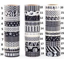 1X 10m  Black Tape  Dot,wave,bird,Star Print Scrapbooking DIY Sticker Decorative Masking Japanese Washi Tape polka dot masking tape 4pcd