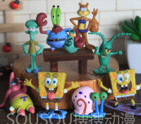 8pcs 1 Set SpongeBob All In The Family Patrick Star Action Figures Toys