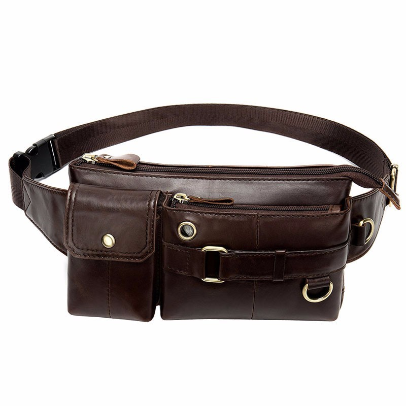 Leather Waist Packs Fanny Pack Belt Bag Phone Pouch Bags Travel Waist Pack Male Small Waist Bag Leather Pouch(China)
