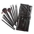Pro 9 pcs Sombra Maquiagem Cosméticos Escova Kit Preto + Caso Saco de pincéis de maquiagen