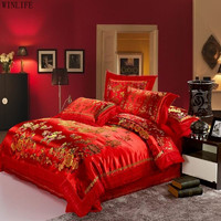 WINLIFE Traditional Chinese Style Wedding Bedding Sets Red Embroidery Silk Duvet Covers