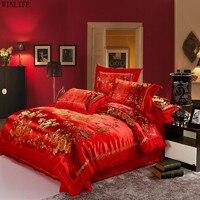 WINLIFE Traditionellen Chinesischen Stil Hochzeit Bettwäschesätze Rote Stickerei Silk Bettbezüge