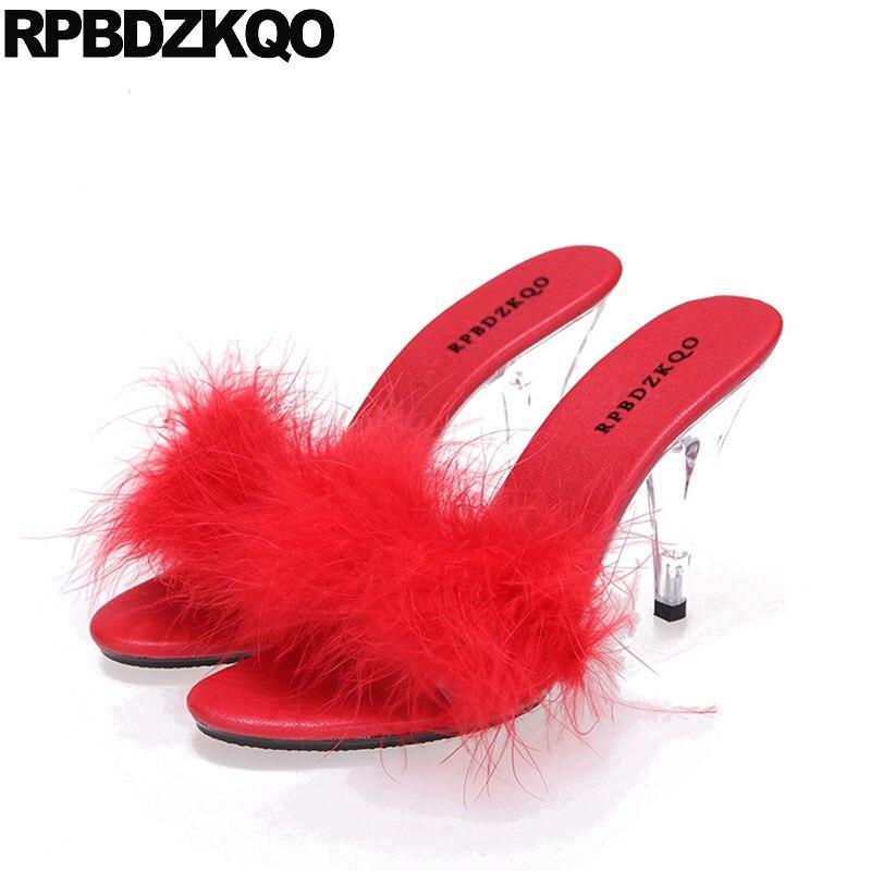 Red Fur Big Size Perspex High Heels Furry Sandals Stiletto Designer Shoes  Women Luxury 2018 Slides Sexy Glass Fluffy Pumps 11
