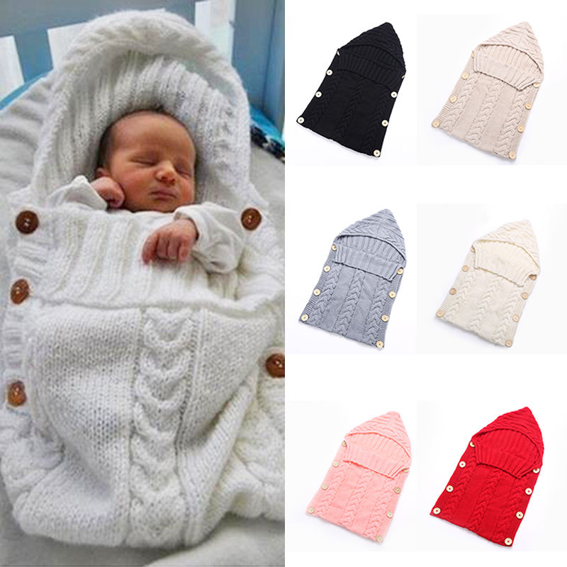 Newborn Baby Cute Knitted Crochet Hooded Sleeping Bags Babies Swaddle Wrap Swaddling Blanket Sleep Bag