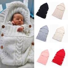 Newborn Baby Cute Knitted Crochet Hooded  Sleeping Bags Babies Swaddle Wrap Swaddling Blanket Sleep Bag