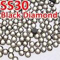 SS30 6,4-6,6 мм 288 штук пакет, черный бриллиант DMC Горячая фиксация плоские стразы, горячая фиксация железа на одежде, обувь