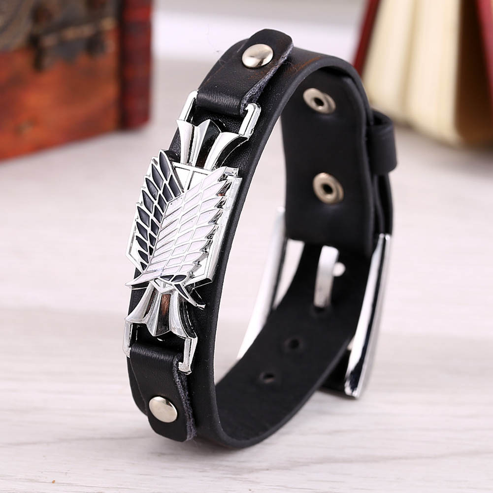 Attack On Titan Wings of Freedom Thin Leather Bracelet 1