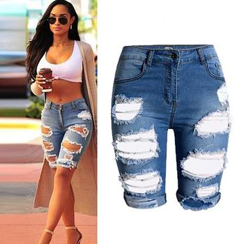 Sexy Casual Half Pants Ripped Hole Jeans Mid-Rise Slim Fit Fifth Denim Shorts