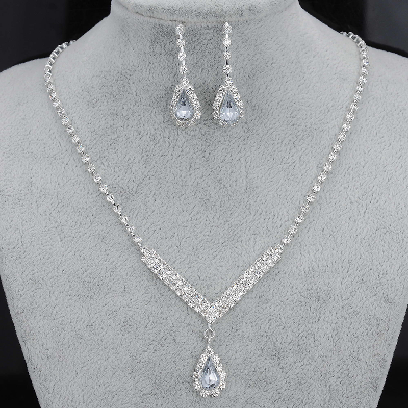 Rhinestone Waterdrop Wedding Silver Jewelry Set Crystal
