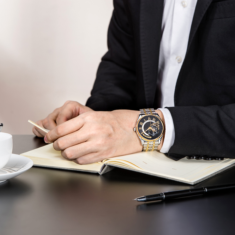 2018 Real New Sale Skeleton Mecánico Hombre Reloj Negro Blanco Acero - Relojes para hombres - foto 5