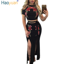 HAOYUAN Black Embroidery Flower Maxi Dress Long Off Shoulder Robe Bodycon Summer Dress Two Piece Set Split Sexy Party Dresses