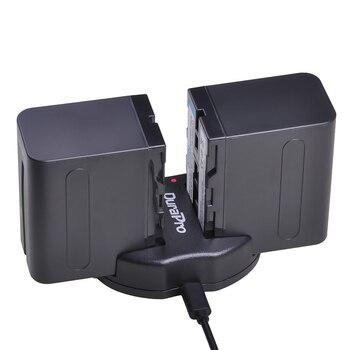 2pc x 7200mAh NP-F960 NP-F970 batería Li-Ion + cargador doble USB para SONY NP F960 F970 F950 F330 F550 F570 F750 F770 MC1500C 190P